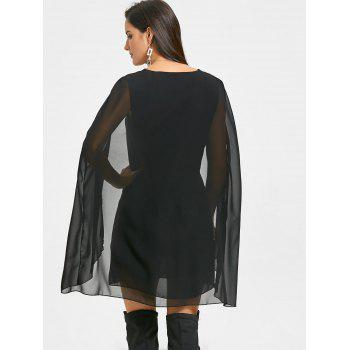 Chiffon V Neck Cape Dress - BLACK 2XL