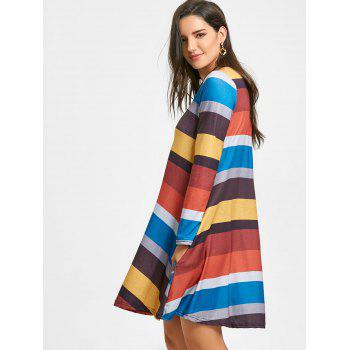 A-line Colored Stripes Long Sleeve Dress - YELLOW S