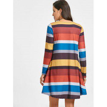 A-line Colored Stripes Long Sleeve Dress - YELLOW XL
