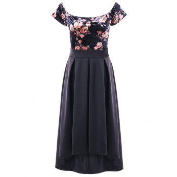 Off Shoulder Floral Velvet Dip Hem Dress - BLACK XL