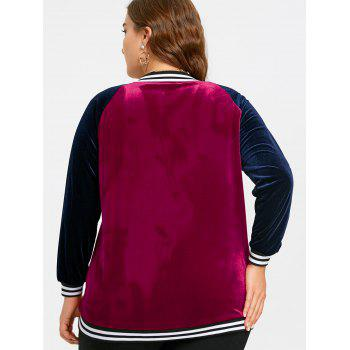 Raglan Sleeve Velvet Plus Size Baseball Jacket - WINE RED 3XL