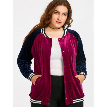 Raglan Sleeve Velvet Plus Size Baseball Jacket - WINE RED 5XL