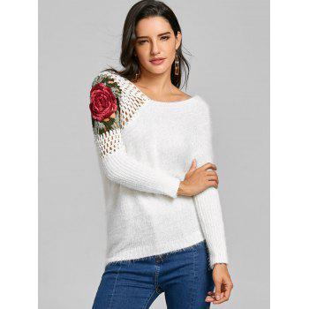 Hollow Out Floral Embroidered Sweater - WHITE ONE SIZE