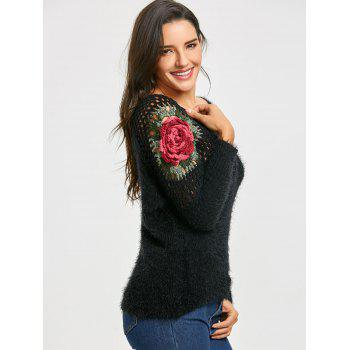 Hollow Out Floral Embroidered Sweater - BLACK ONE SIZE