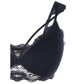 Plus Size Low Cut Strappy Lace Bra - BLACK BLACK