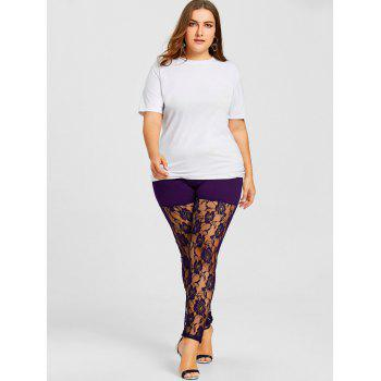 Sheer Lace Panel Plus Size Leggings - PURPLE XL