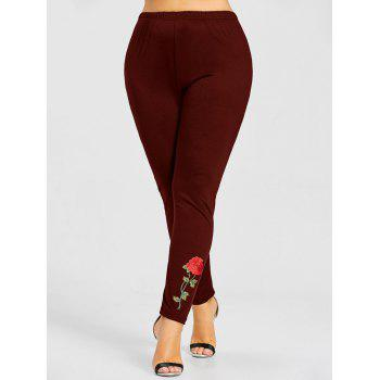 Leggings à Rose Grande Taille - Rouge vineux 4XL