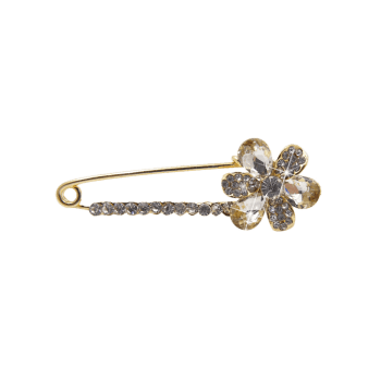 Floral Faux Crystal Embellished Brooch - WHITE