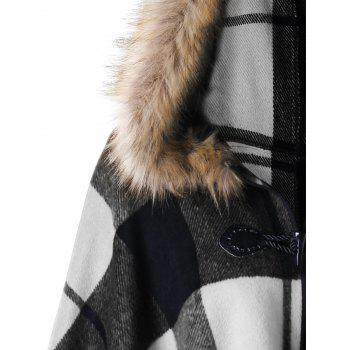 Plus Size Plaid Hooded High Low Cloak - WHITE/BLACK 3XL