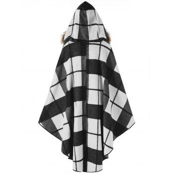 Plus Size Plaid Hooded High Low Cloak - WHITE/BLACK 5XL
