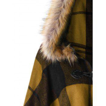 Plus Size Plaid Hooded High Low Cloak - GINGER 3XL