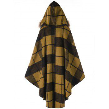 Plus Size Plaid Hooded High Low Cloak - GINGER 4XL