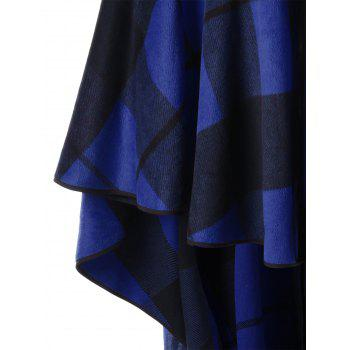 Plus Size Plaid Hooded High Low Cloak - BLUE 2XL
