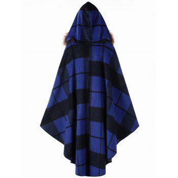 Plus Size Plaid Hooded High Low Cloak - BLUE 3XL
