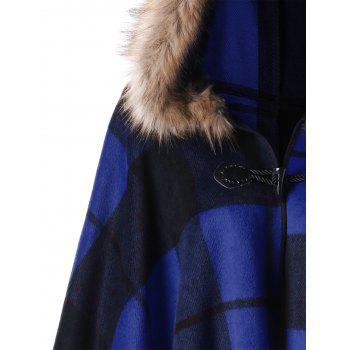Plus Size Plaid Hooded High Low Cloak - BLUE 5XL