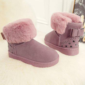 Low Heel Rivets Bowknot Snow Boots - PINK 39