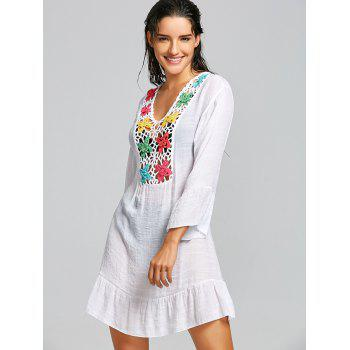 Crochet Panel Flounce Cover Up Dress - WHITE ONE SIZE