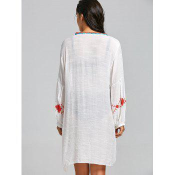 Crochet Trim Flowy Beach Cover Up - WHITE ONE SIZE