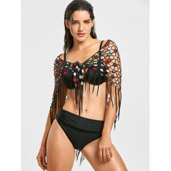 Fringes Crochet Convertible Beach Cover Up - BLACK ONE SIZE