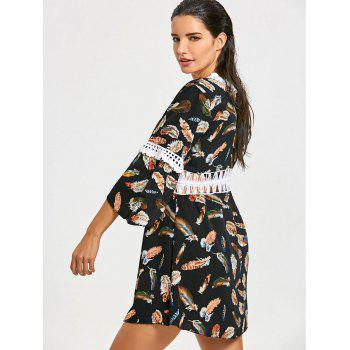 Feathers Print Summer Beach Cover Up Dress - COLORMIX ONE SIZE