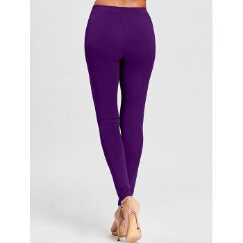 Tight Hollow Out Lace Panel Leggings - PURPLE 2XL