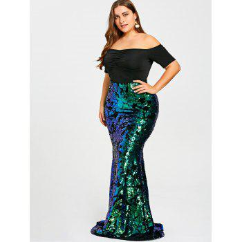 Plus Size Sequined Mermaid Prom Dress - GREEN 5XL