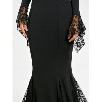 Lace Panel Deep V Neck Mermaid Prom Dress - BLACK M