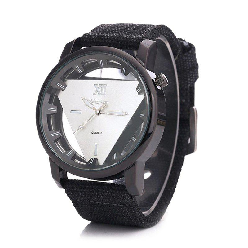 Hollow Out Triangle Shape Canvas Strap Watch - WHITE