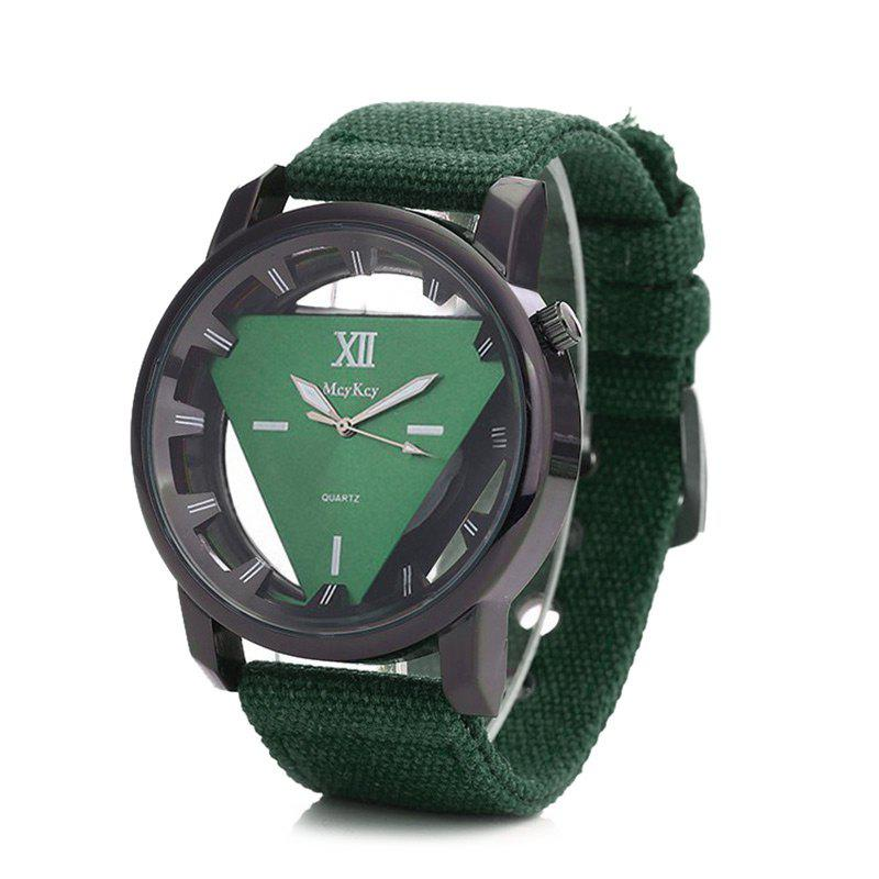 Hollow Out Triangle Shape Canvas Strap Watch - GREEN