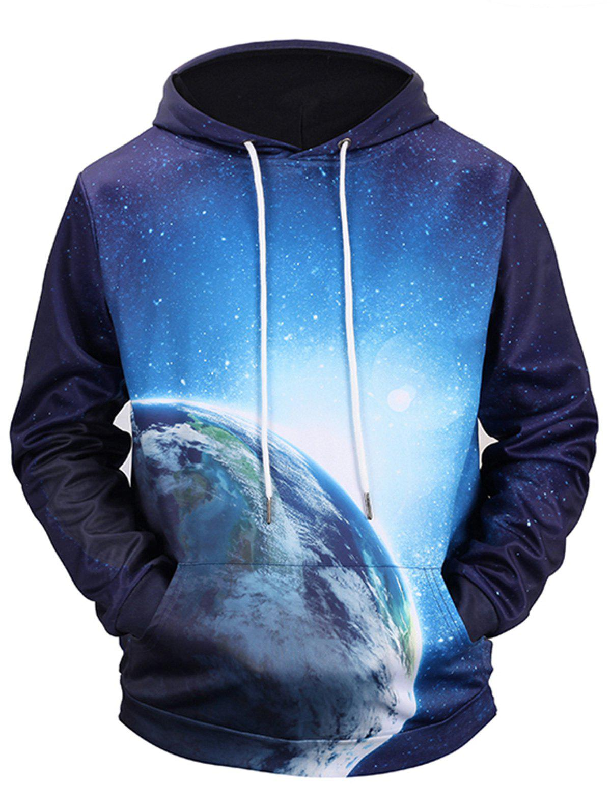 3D Space Print Drawstring Pullover Hoodie - COLORMIX L