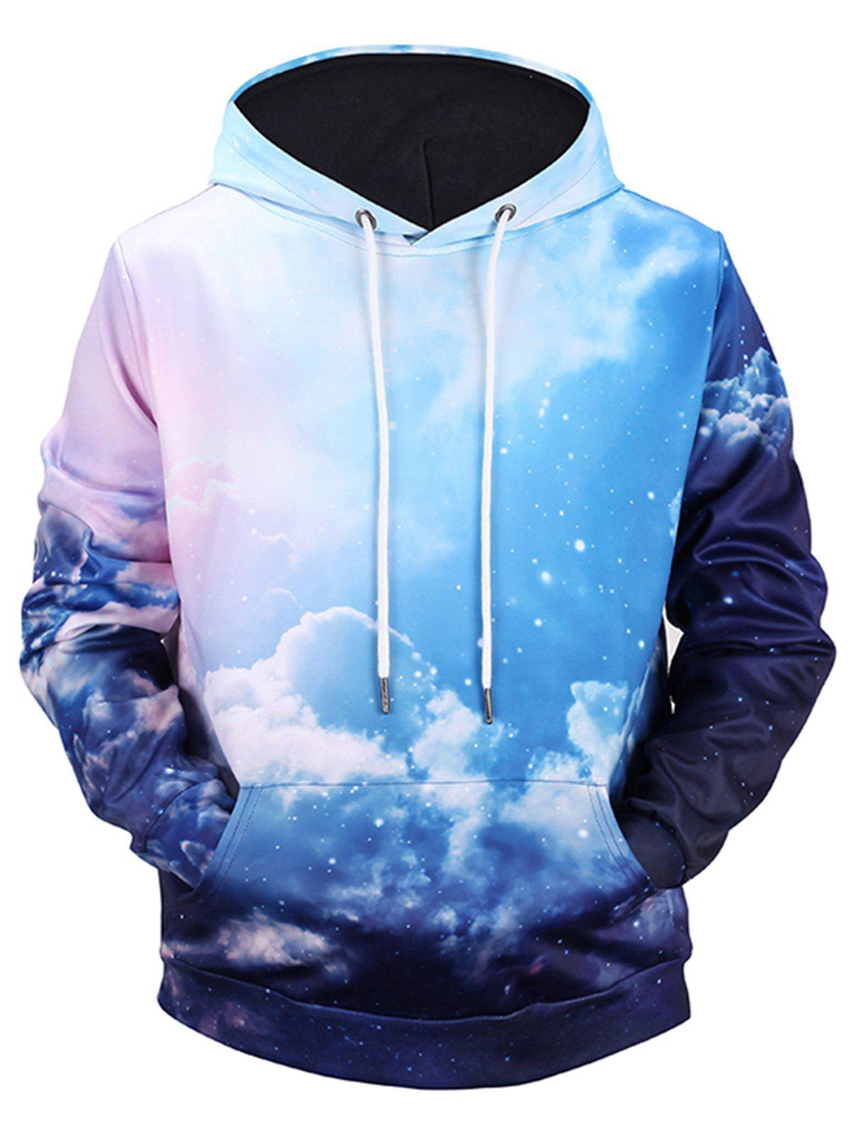 Kangaroo Pocket Sky Clouds 3D Print Hoodie clouds without rain