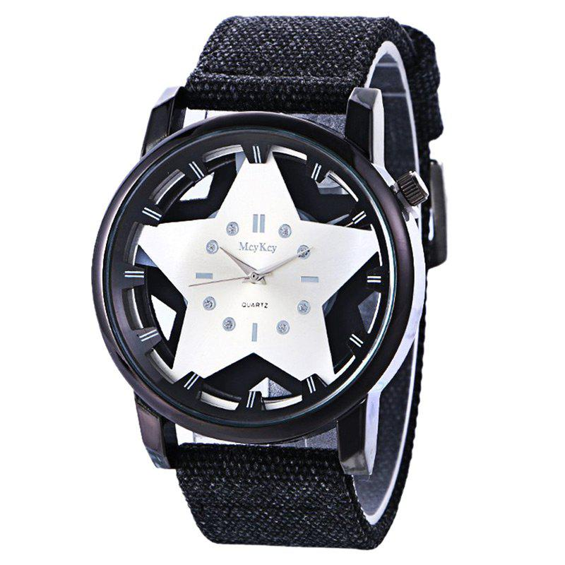Pentagram Pattern Canvas Quartz Watch - WHITE