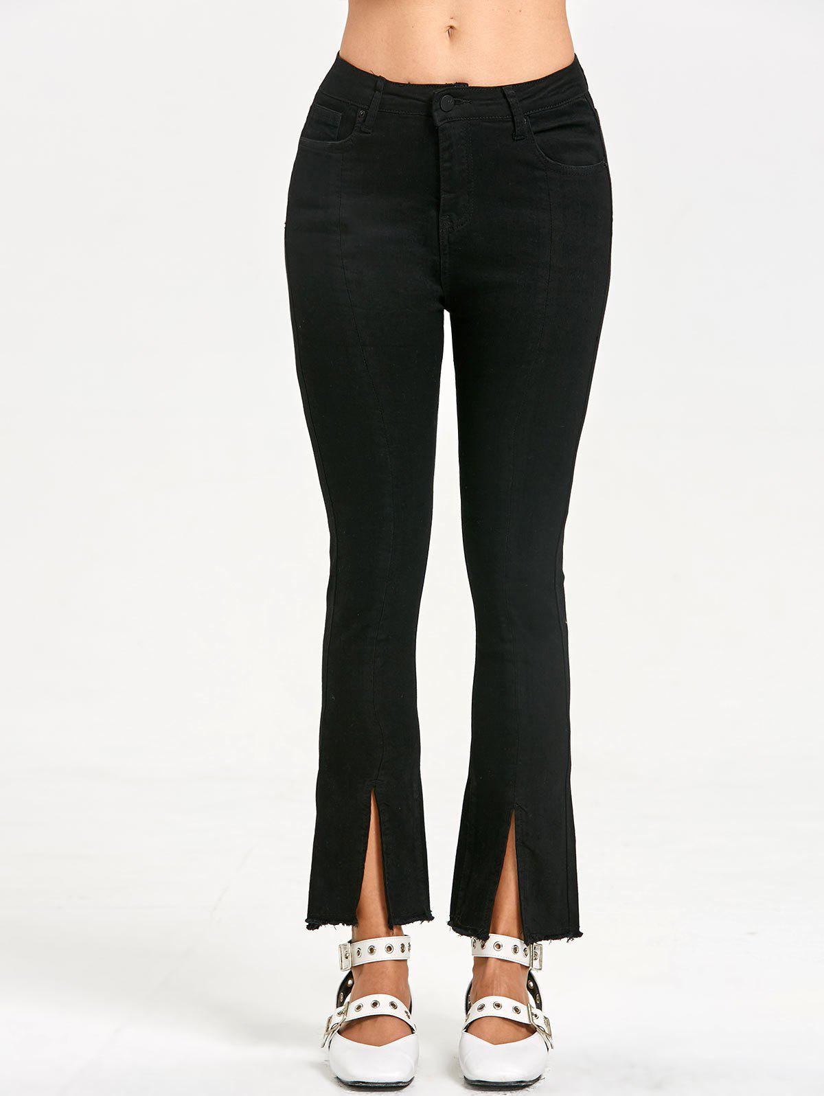 Slit Frayed Zipper Fly Jeans - BLACK L