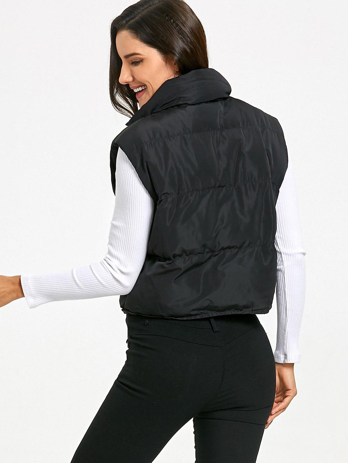 Quilted Snap Button Vest - BLACK M