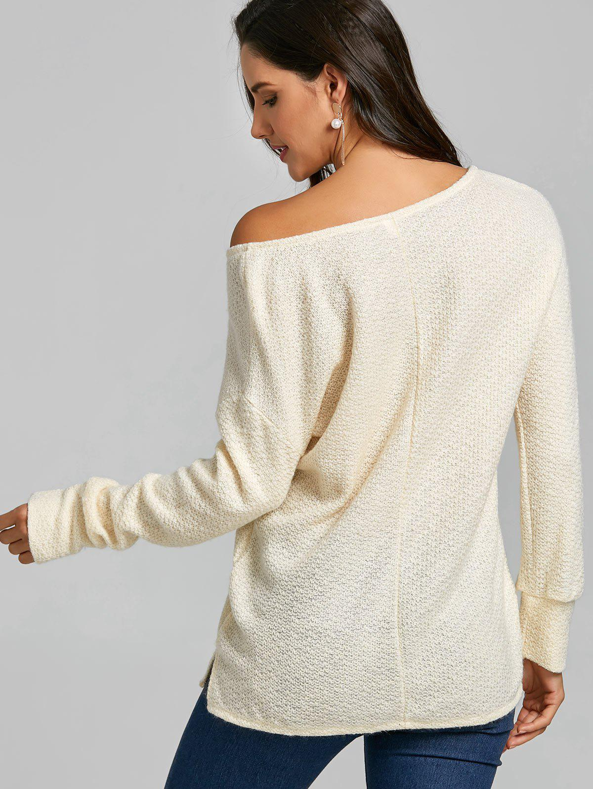 Skew Neck Tunic Knitwear - OFF WHITE L