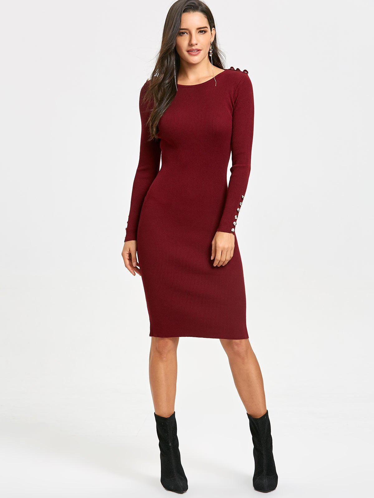 2018 Bodycon Knit Sweater Dress WINE RED ONE SIZE In Sweater ...