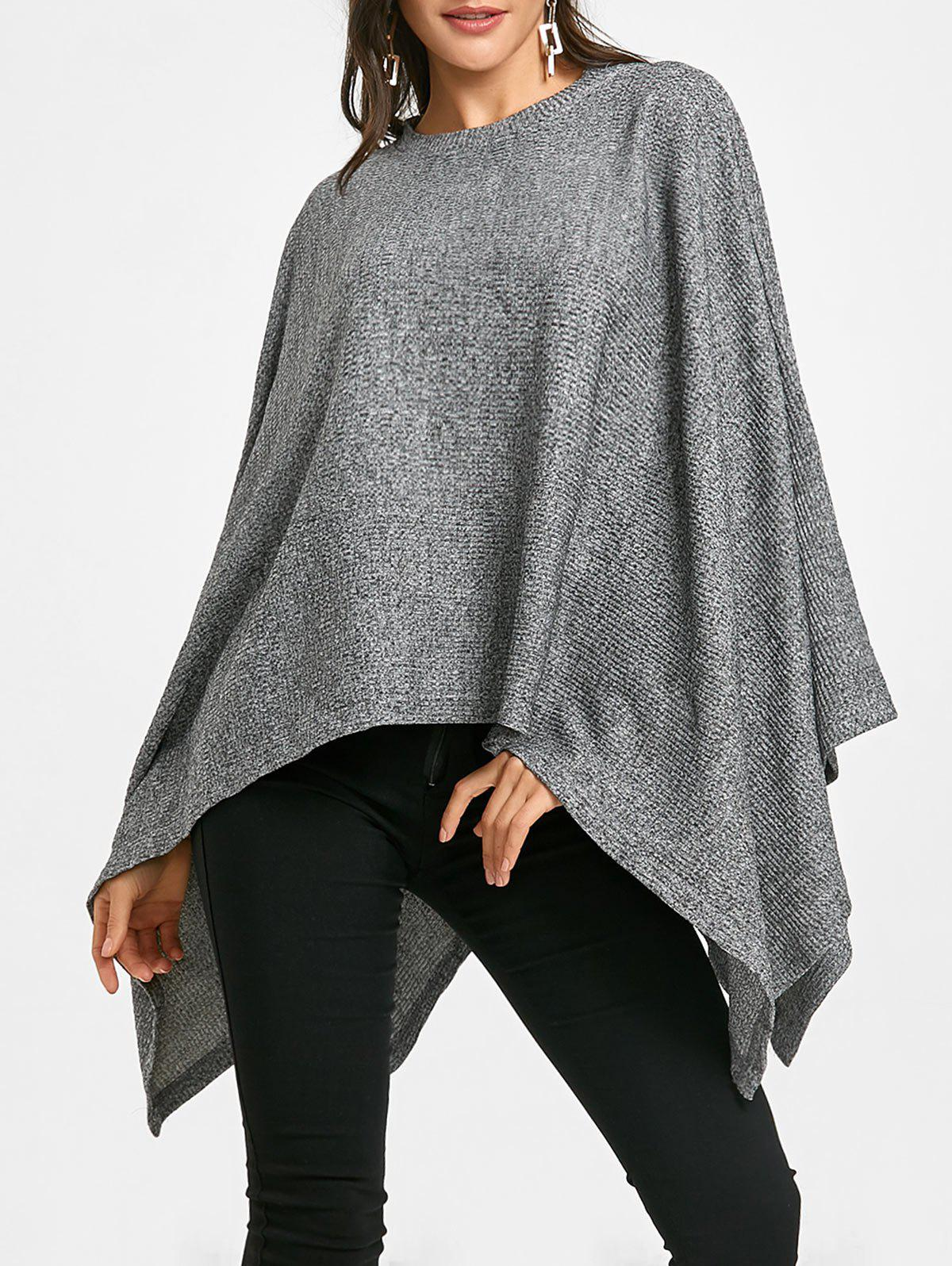 Batwing Sleeve Oversized Poncho Sweater - GRAY ONE SIZE
