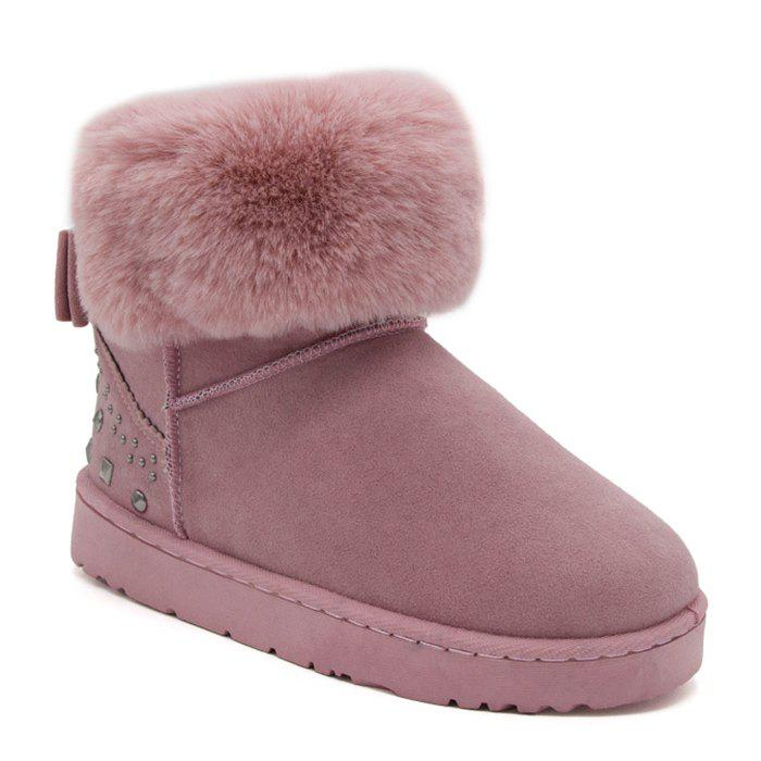 Low Heel Rivets Bowknot Snow Boots