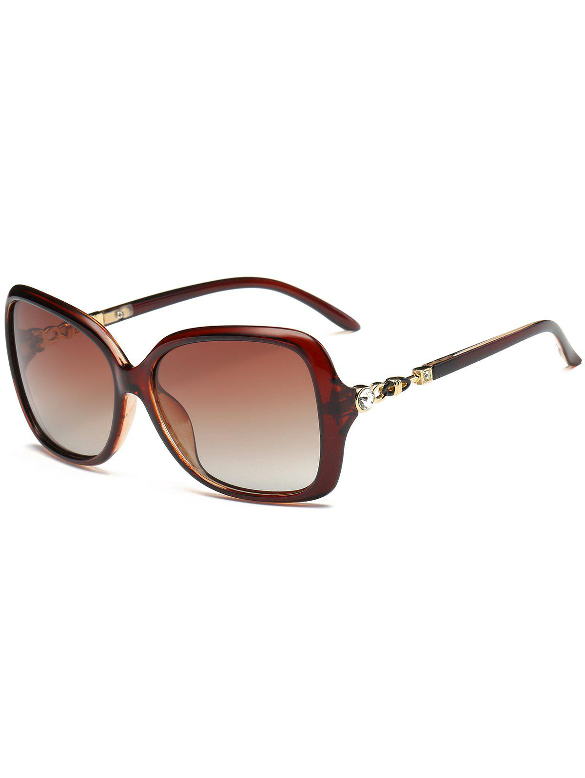 Anti-fatigue Rhinestone Inlay Oversized Driver Sunglasses - TEA COLORED