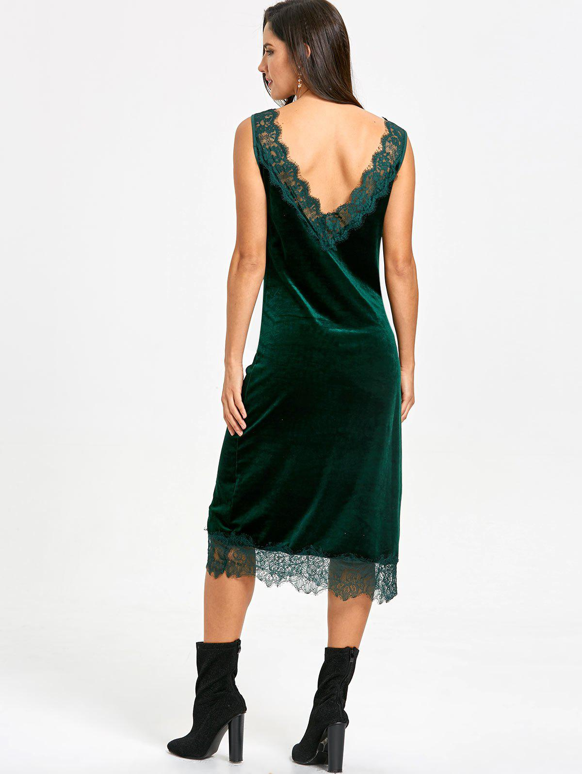 Plunging Lace Trim Velvet Dress - BLACKISH GREEN L
