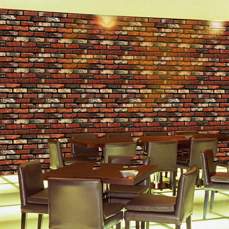Brick Pattern Decorative Wall Cover Sticker, Brick-red