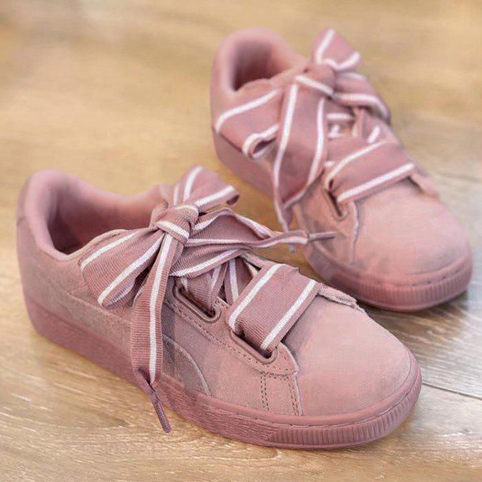 Striped Wide Bowknot Lace Up Sneakers - PINK 38