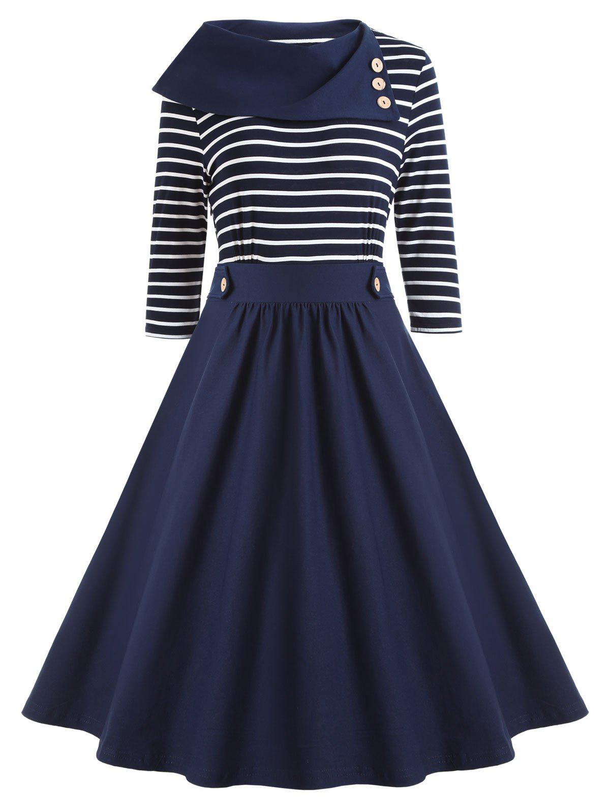 Button Embellished Striped Vintage Dress - BLUE 2XL