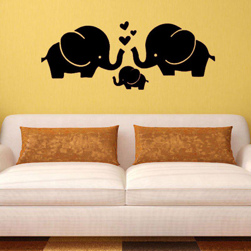 Elephant Family Love Heart Patterned Wall Art Decal always kiss me goodnight letters patterned wall decal
