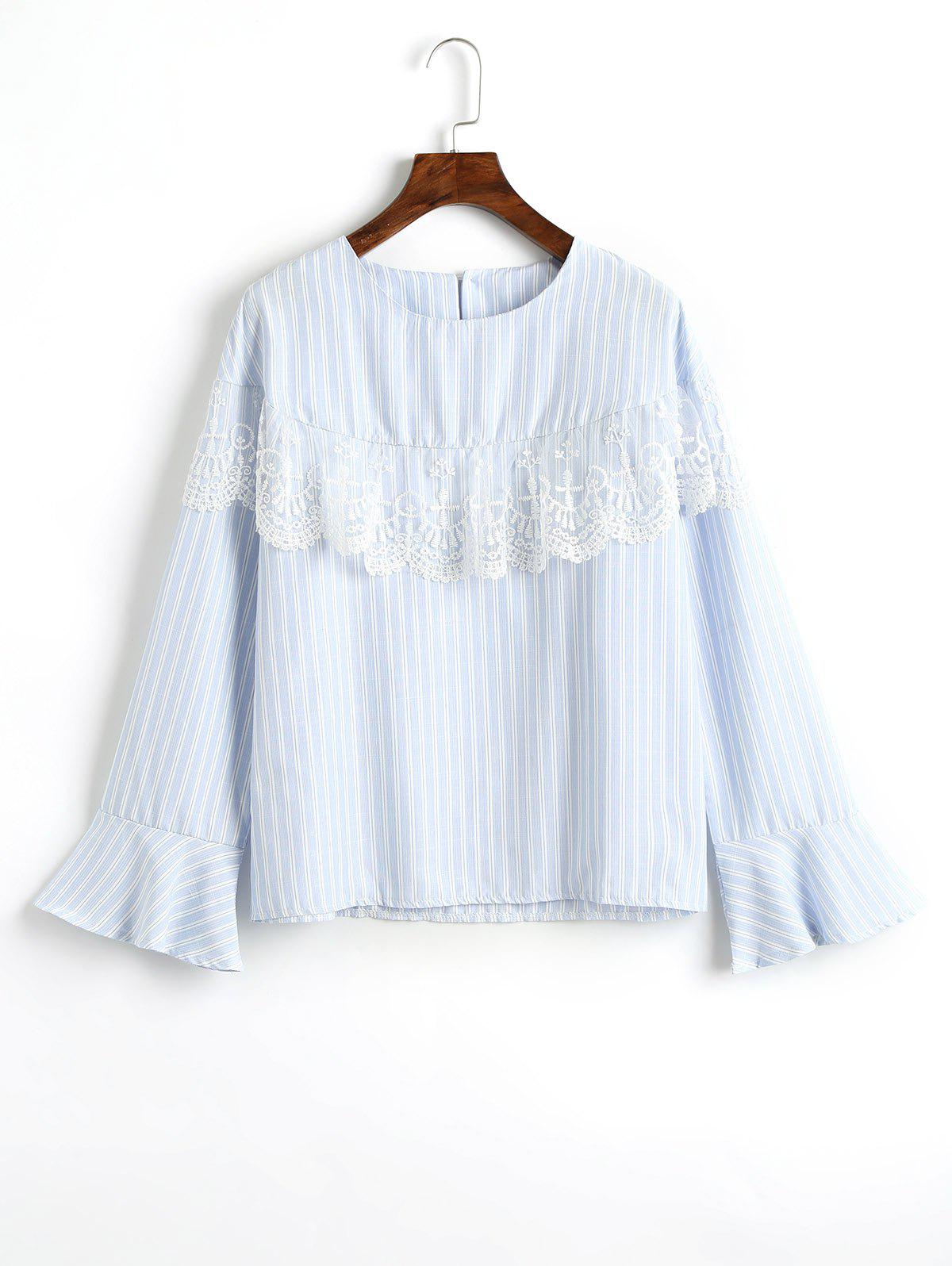 Mesh Insert Flare Sleeve Striped Blouse 20d striped mesh tights