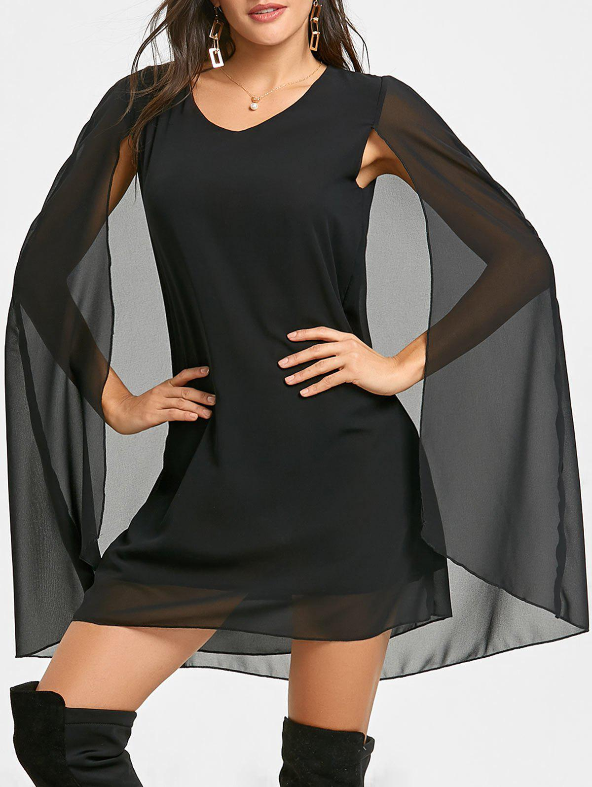 Chiffon V Neck Cape Dress - BLACK L
