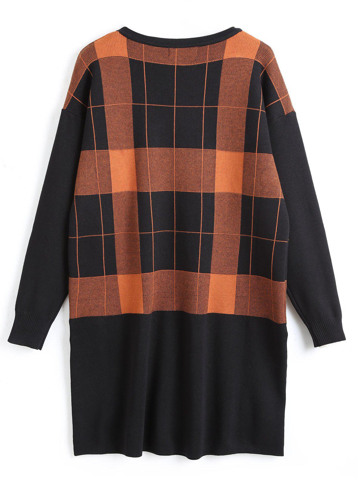 Plus Size Checked Tunic Sweater with Pocket - SUGAR HONEY 5XL