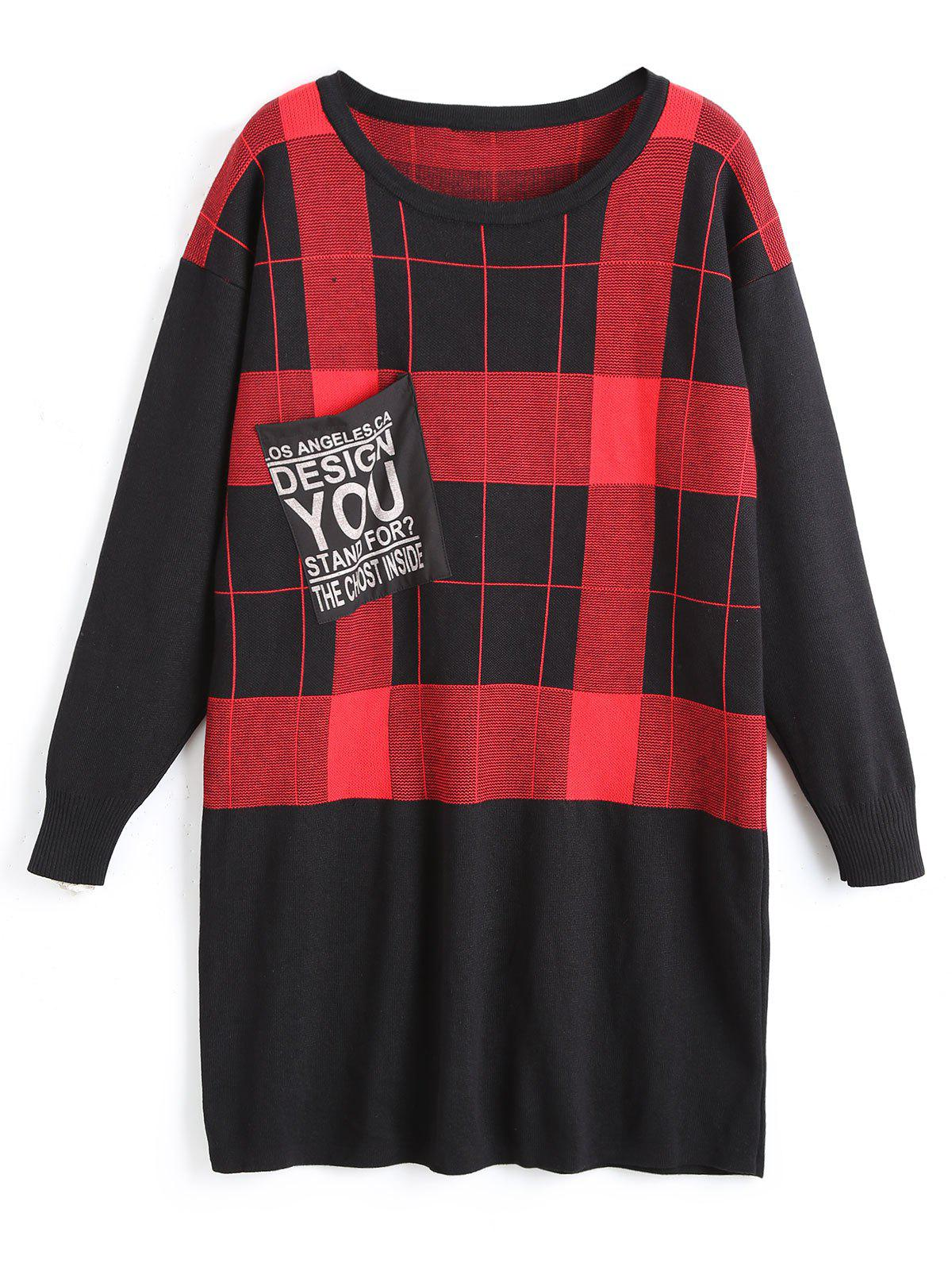 Plus Size Checked Tunic Sweater with Pocket - RED 6XL