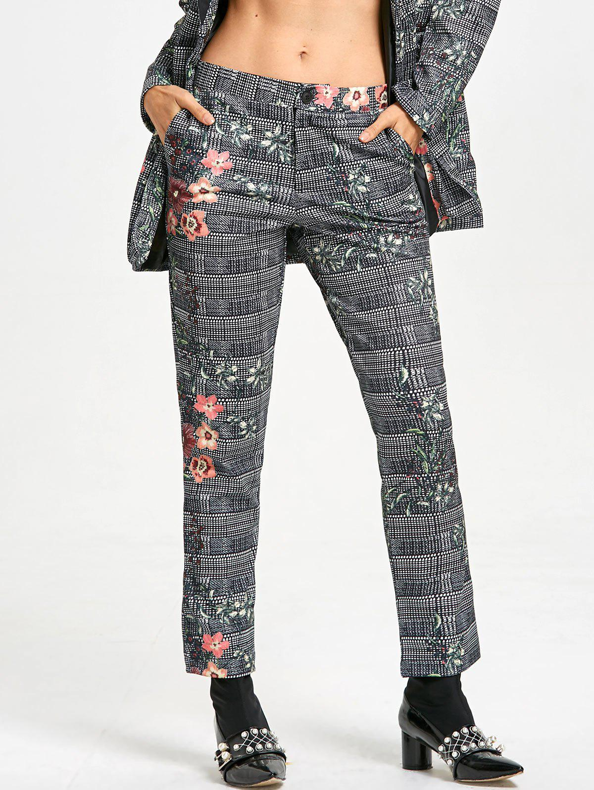 Zipper Fly Plaid Flower Print Pants - COLORMIX L