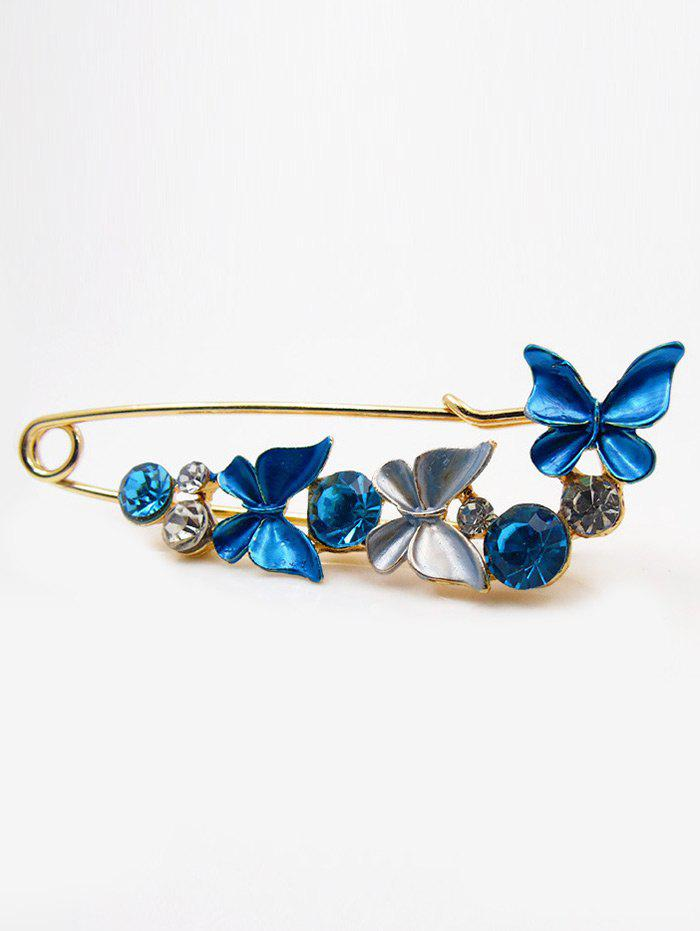 Broche papillon de diamant artificiel - Bleu